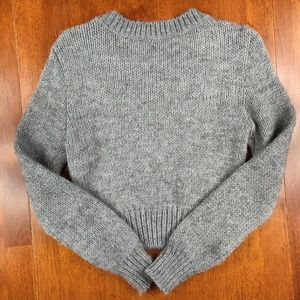 H&M Sweaters - H&M Gray Cropped Wool Blend Cable Knit Sweater